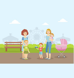 mothers walking with their kids in amusement park vector image