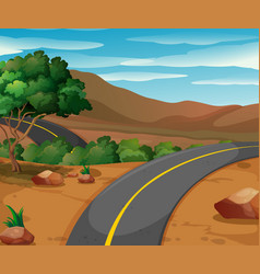 mountain scene with empty road vector image