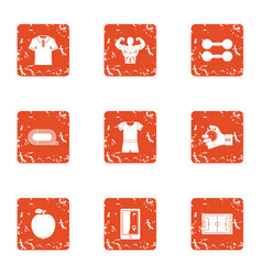 Muscular icons set grunge style vector
