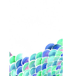 ocean wave and scale fish watercolor background vector image