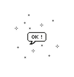 Ok in speech bubble 8 bit pixel art vector