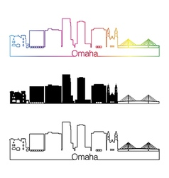 Omaha V2 skyline linear style with rainbow vector
