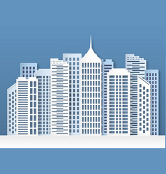 paper city skyline urban origami cityscape vector image