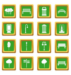 Park icons set green vector