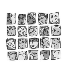 People abstract faces avatars characters grayscale vector