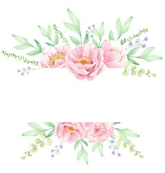 pink peony flower bouquet wreath frame for banner vector image