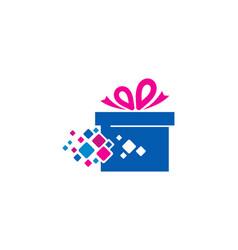 Pixel gift logo icon design vector
