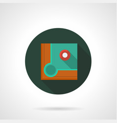 Pool game flat round icon vector