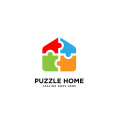 Puzzle home logo simple line logo template vector