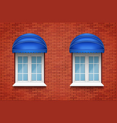 Pvc arch windows with awning vector