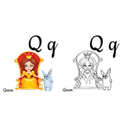queen alphabet letter q coloring page vector image