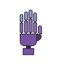 robot hand icon in colorful silhouette with thick vector image