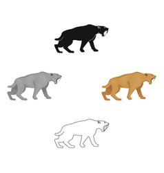 Saber-toothed tiger icon in cartoonblack style vector