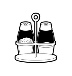 salt and pepper containers black silhouette vector image