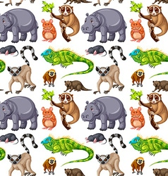 Seamless background with wild animals vector