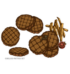 set hand drawn colored grilled burger vector image