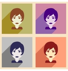 Set of flat web icons with long shadow womens vector