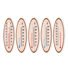 set of realistic liquid thermometers with celsius vector image