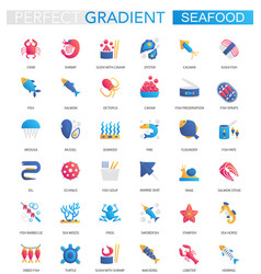 set trendy flat gradient seafood icons vector image