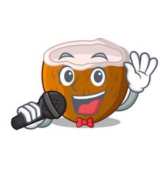 Singing cartoon beverage coconuts on the beach vector