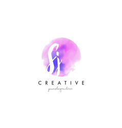 Sj watercolor letter logo design with purple vector