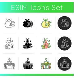 smart farm system icons set vector image