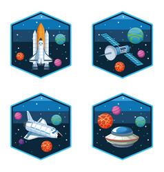 Spaceship satellite and ufo set emblems vector