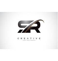 Sr s r swoosh letter logo design with modern vector