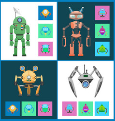 start set robots collection vector image