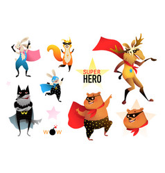 Superheroes animals kids party funny characters vector