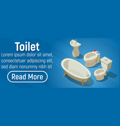 Toilet concept banner isometric style vector
