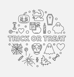 trick or treat round outline halloween vector image
