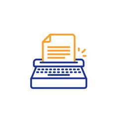 typewriter line icon copywriting sign vector image
