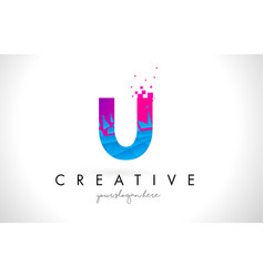 U letter logo with shattered broken blue pink vector