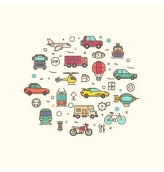 Vehicle and transport icons in circle design vector image
