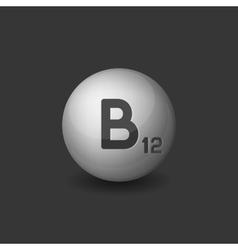 Vitamin b12 silver glossy sphere icon on dark vector