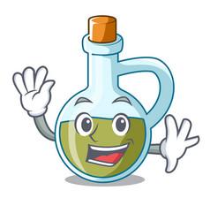 Waving glass bottle premium olive oil character vector