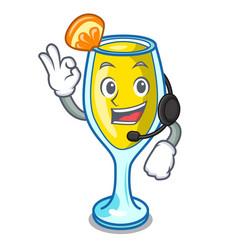 With headphone mimosa mascot cartoon style vector