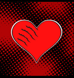 wounded love red heart on dark dot background pop vector image