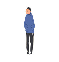 Young lonely guy standing alone aside at concert vector
