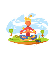 Young man meditating on nature vector