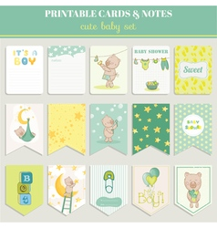 Baby Boy Card Set - for birthday baby shower vector image vector image