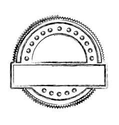 blurred silhouette heraldic circular shape stamp vector image vector image