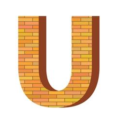 brick letter U vector image vector image
