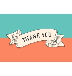Greeting card with ribbon and phrase Thank you vector image vector image