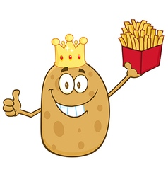 King Potato Cartoon with Fries vector image