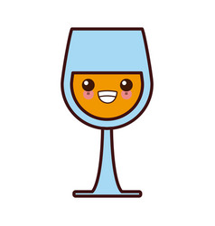 wine glass cup kawaii cute cartoon vector image vector image