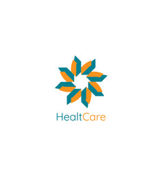 abstract circle star logo template modern health vector image