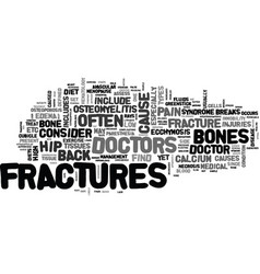 Back pain and fractures text word cloud concept vector