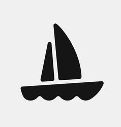 black color yacht icon vector image